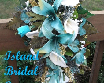 Bride Silk Wedding Flowers Bouquet Hawaii Blue(Turquoise) White Lily 15 pc set