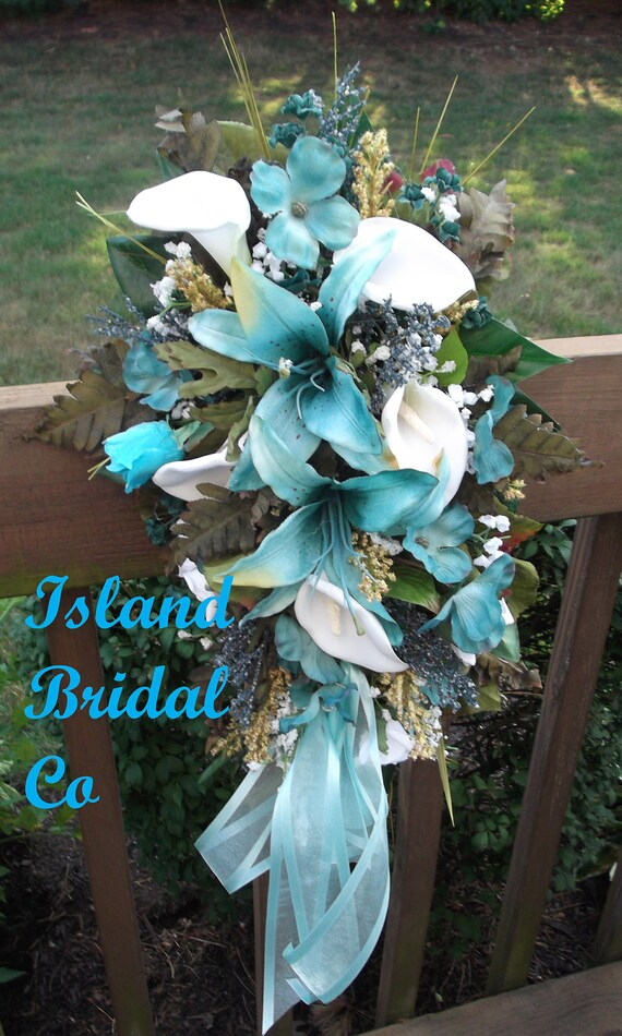 silk bouquets for weddings silk wedding flowers bouquet hawaii blueturquoise 7375
