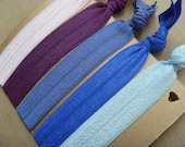 Blues and Purples Set of 5 Handmade Hair Ties FOE - FREE SHIPPING