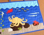 Childrens wallhanging patchwork quilt with see (ocean) animals octopus applique