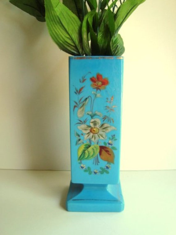 Glass vase in turquoise with hand painted flowers