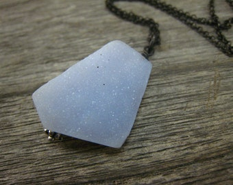 Blue Chalcedony drusy free form pendant