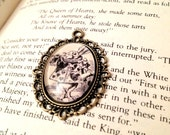 White Rabbit from Alice's Adventures in Wonderland Lewis Carroll Antiqued Bronze Victorian Literature Book Page Necklace