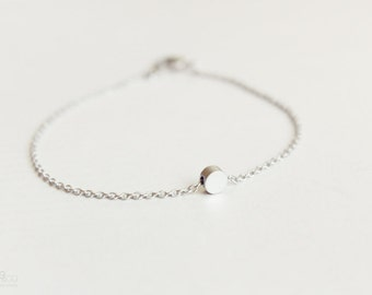 tiny silver dot bracelet - dainty, minimalist, geometric jewelry - gift for her under 15 usd