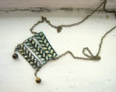 Long Leather Hand Painted Necklace with Tiger Eye Gemstones