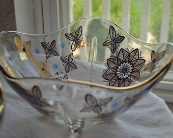 Two Vintage Signed Cora Floral Decorative Bowls with feet, 14K gold embelishment and blue accents