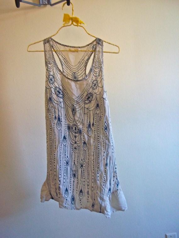 1920's style influenced sleeveless silk dress