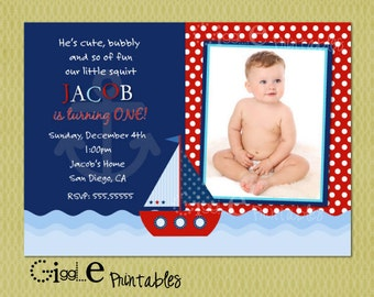 Sailboat or Nautical Invitation - FREE thank you card included