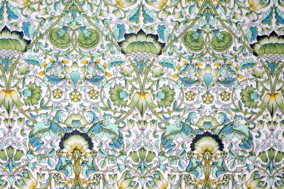 Liberty Fabric Lodden Green Turquoise Tana Lawn Fabric