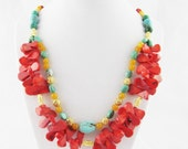 Bright Red Coral, Blue Turquoise, yellow agate and gold accent beaded necklace Handmade OOAK