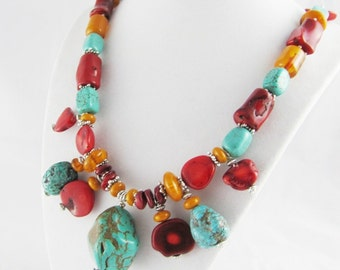 Butter Amber Coral Turquoise Chunky Beaded Necklace Handmade OOAK viking treasure bohemian silver accents SCA semi precious