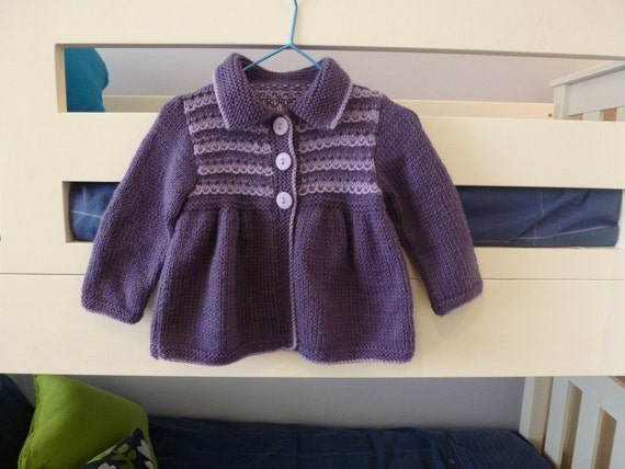Purple smocked style cardigan, baby girl to about 6 months