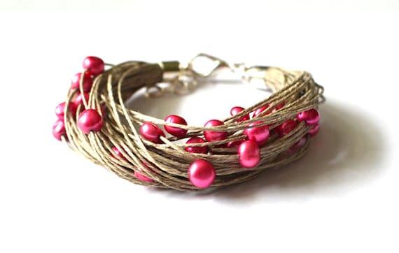 Pearl Linen Bracelet, Bridal Bracelet, Fuschia Linen Bracelet, Multistrand Bracelet, deep berry, purple, magenta