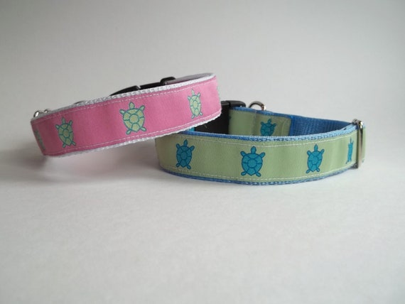 Turtles Print Adjustable Dog Collar Pink or Lime Green White Blue Large 1""
