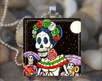 DAY OF the DEAD Dia De Los Muertos Sugar Skull Halloween Glass Tile Pendant Necklace Keyring design 5