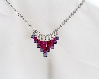 Swarovski crystal cube necklace, sterling silver beads, silver plated chain