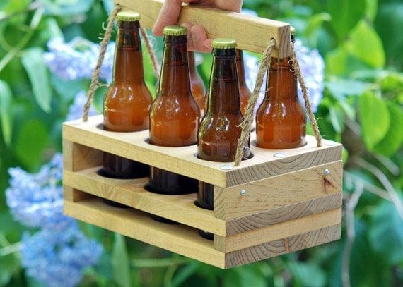 Wood 6-Bottle Beer Carrier-- Homebrew Gift