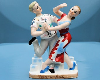 Retro Rock and Roll Ceramic Dancers Home Decor from the 50's, Japan, FREE SHIPPING