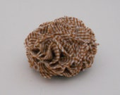 Tan Beige Plaid Carnation Hair Clip, Brooch, & Corsage Upcycled from Vintage Shirt