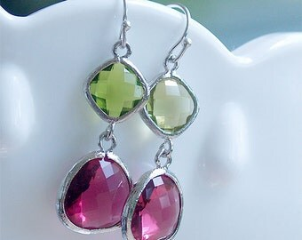 Apple Green and Fuchsia Pink Earrings in Silver - Sterling Silver - Bridesmaids Earrings, Magenta Ruby Pink Peridot