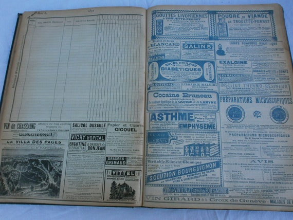 French Antique Medical Ledger Pages of 1890s Advertising Shabby Chic Projects.