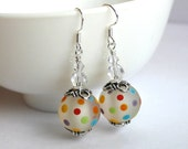 Handmade lampwork earrings with colourful spots, Swarovski Crystals, Sterling silver hooks