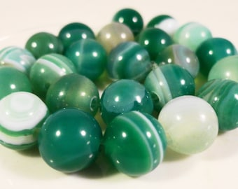 Striped Agate Gemstone Beads 8mm Round Green (Dyed) Striped Agate Stone Beads for Jewelry Making on a 7 1/4 Inch Strand with 23 Beads