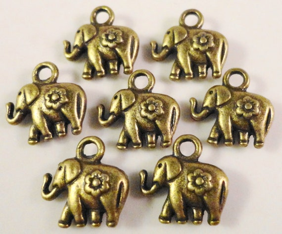 Bronze Elephant Charms 12x12mm Antique Brass Elephant Charm, Small Elephant Pendants, Animal Charms, Metal Charms for Jewelry Making, 10pcs