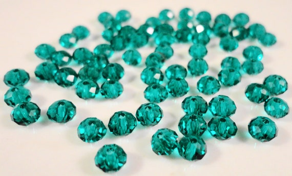 Teal Crystal Beads 4x3mm (3x4mm) Rondelle Teal Green Faceted Chinese Small Crystal Glass Beads for Jewelry Making 100 Loose Beads per Pack