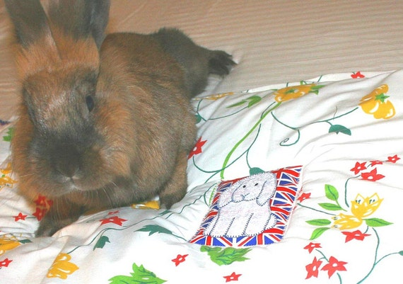 The Bun-velope - soft carrier liner for bunny rabbits quilted floral red yellow green print fabric with British flag and Lop patch