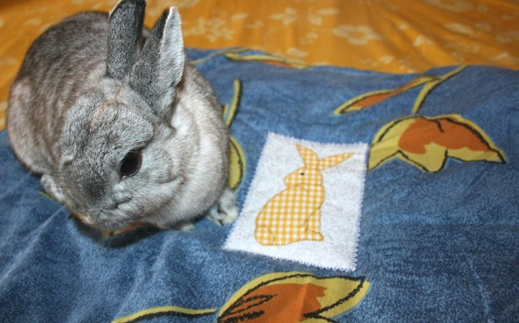 The Bun-velope - soft carrier liner for bunny rabbits quilted cotton blue and yellow tulips with handmade bunny patch