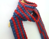 Crochet wool scarf, red and cobalt blue, long knit scarf with fringes, infinity scarf