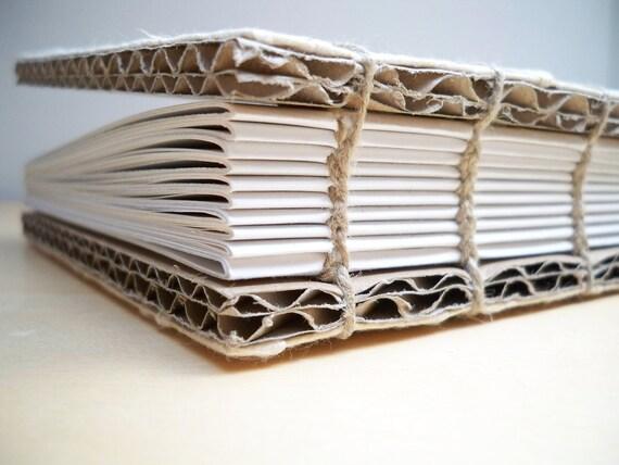 Eco Recycled Journal - Geometrical White Handmade Paper