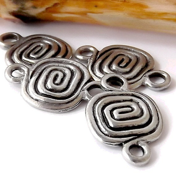 Spiral Link Double Loop Antique Silver Plate Pkg. 4