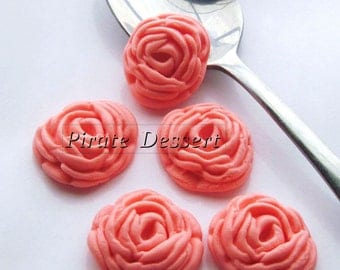 PINK Sugar Flowers  Fondant Roses - 1 inch (25mm) - Edible cake decorations (Pink Rose) (12 pieces)