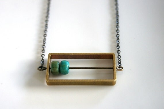 Geometric Raw Brass Rectangle Necklace on Gunmetal Chain
