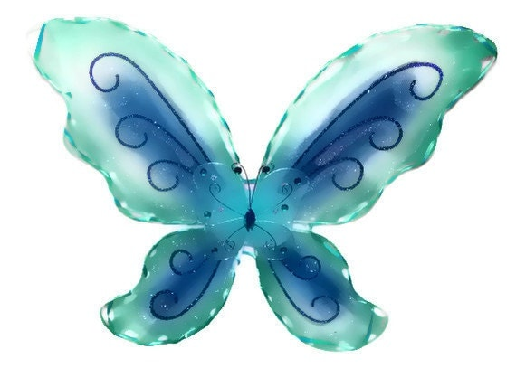 Teal & Blue Hand Glittered And Stitched Nylon Butterfly Costume Wings One Size Fits Toddler-Youth