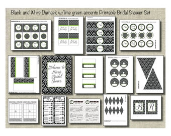 Black and White Damask with lime green: Printable Bridal Shower Set