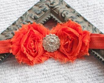 Burnt Orange Shabby Chiffon Flower Headband with Rhinestone, Newborn, Infant, Baby, Toddler, Girl and Adult headband