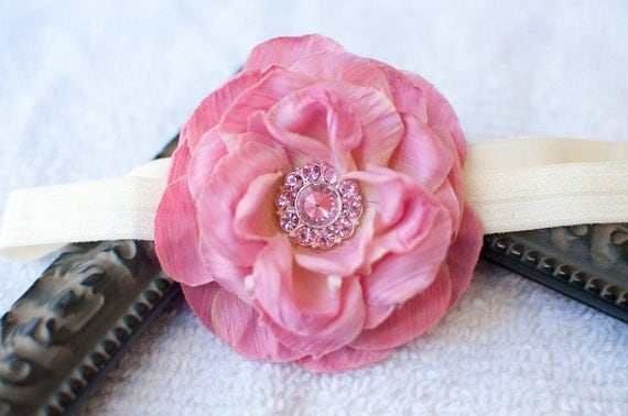Sweet Pink Flower with Matching Rhinestone Headband or Hair Clip, Newborn, Infant, Baby, Toddler, Girl and Adult