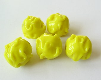 Large vintage opaque yellow glass bead 1 pcs