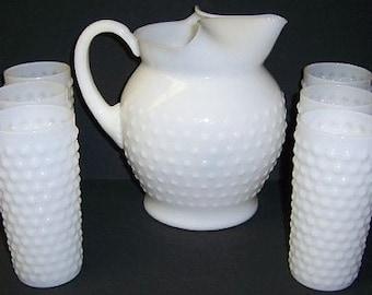 MacBeth-Evans Depression Glass Monax White MacHOB 7 Piece Water Pitcher Set