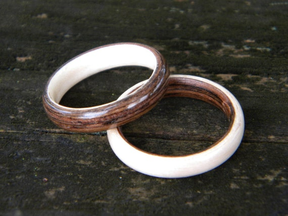 Wenge and Maple Bentwood rings, SET OF OPPOSITES, both rings in size 10