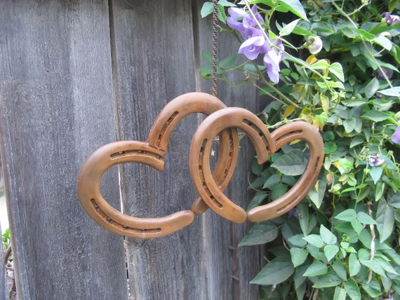 Two Hearts as One Welded Hanging Horseshoe Hearts- Rust Finish