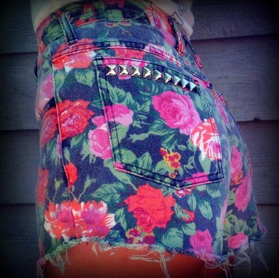"Vintage High Waisted Floral Studded Cut Off Shorts 27"" Waist"