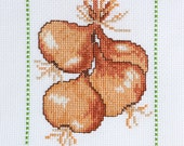 Completed Cross Stitch Sampler, Vegetable Theme Embroidery, Onion