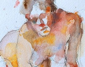 "Woman nude watercolor fine art digital print from my original painting by Vernon Grant 11"" x 14"", Bending Figure"