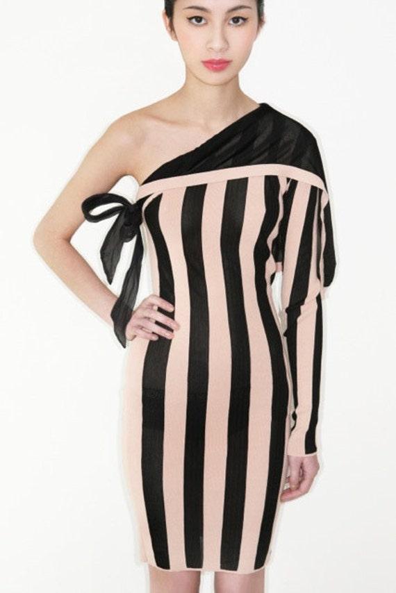 Reserved for Shannon fabulous vintage JEAN PAUL GAULTIER asymmetric one shoulder stripe knit dress