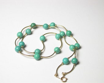 Turquoise 14k White Gold Necklace 6.2 Grams