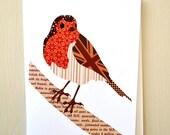 Robin Bird Greetings Card by Thirteen Rabbits